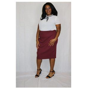 Old Navy | Rich Red Ribbed Pencil Skirt XL- Runs L